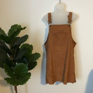*VINTAGE* brown corduroy mini dress w/ pocket.